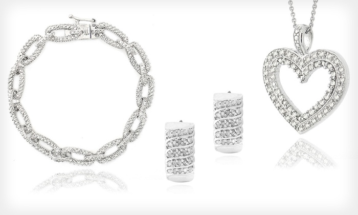 Diamond Earrings, Necklace, or Bracelets: Diamond Earrings, Necklace, or Bracelets (Up to 76% Off). Four Options Available. Free Shipping.