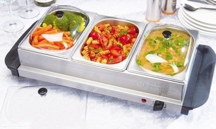 three section buffet warming tray groupon goods rh groupon co uk disposable buffet heating trays buffet warmer trays sale