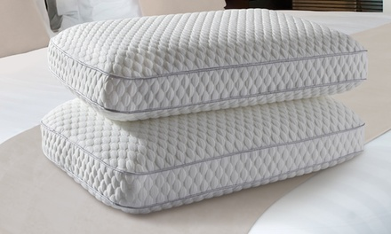 Single or 2-Pack of Cool Gel Memory Foam Cluster Pillows with Comfort Cushion Cover