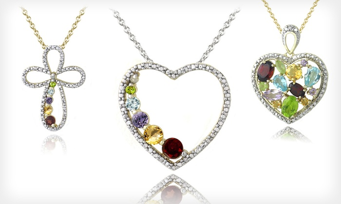 18k Gold-Plated Gemstone Jewelry: $15.99 for a Gold-Plated Gemstone Necklace or Earrings ($45 List Price). 10 Styles Available. Free Shipping and Returns.