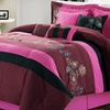 8-Piece King-Size Floral Nori Comforter Set in Plum