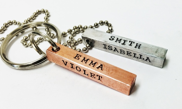 LilyDeal: One, Two, or Three Personalized Four-Sided Pendant Key Chains or Necklaces from LilyDeal.com (Up to 69% Off)