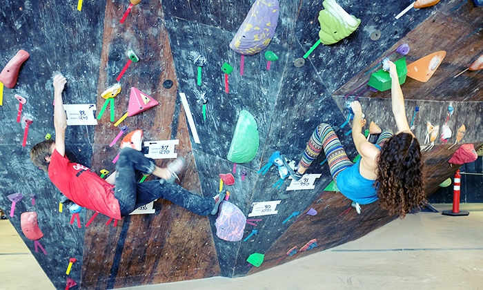 The Circuit Bouldering Gym - Multiple Locations: Five-Visit Punch Pass or Intro to Bouldering Class for Two at The Circuit Bouldering Gym (Up to 63% Off)