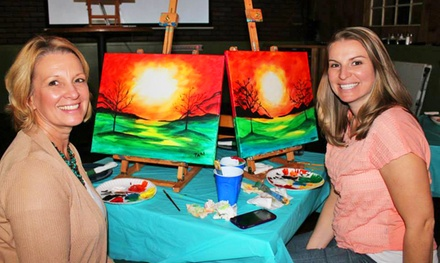 Three-Hour Painting Class for Two or Four or Private Painting Party at The Social Canvas (Up to 51% Off)