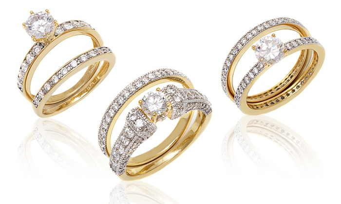 18K Gold-Plated Band and Ring Set : 18K Gold-Plated Band and Ring Set. Multiple Styles Available. Free Returns.
