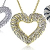 0.50 CTTW Diamond Wave Heart Pendants