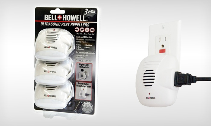 Bell+ Howell Ultrasonic Pest Repellers with Outlets and Night-Lights: $12.99 for a Three-Pack of Bell + Howell Ultrasonic Pest Repellers with Extra Outlets ($24.99 List Price). Free Returns.