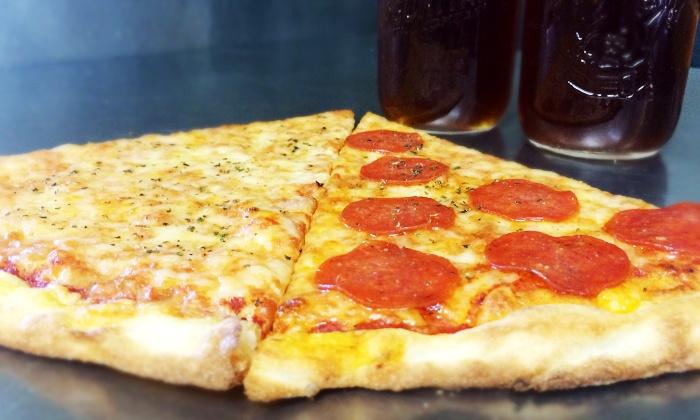 Bibo's NY Pizza - Santa Teresa: $14 for Two Slices of Pizza, Two Beers, and Two Lagunitas Mason Jars at Bibo's NY Pizza ($28 Value)