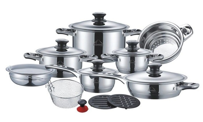 Groupon Goods: Ecohous 18-Piece Stainless Steel Cookware Set  for R2 599.99 Including Delivery (88% Off)