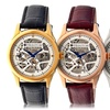 Heritor Automatic Nicollier Men's Skeleton-Dial Leather-Strap Watch