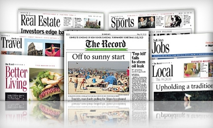 """The Record - Paramus: $20 for 26 Weeks of Thursday and Sunday Home Delivery of """"The Record"""" ($52 Value)"""