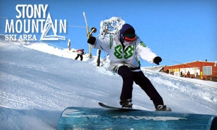 Stony Mountain Ski Area - Stony Mountain: Lift Tickets, Ski and Snowboard Rentals, or Lessons at Stony Mountain Ski Area. Choose from Four Options.