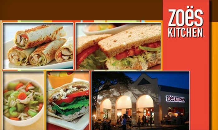 Zoe's Kitchen - Oakview: $10 for $20 Worth of Kabobs, Roll-Ups, Made-to-Order Dishes, and More at Zoe's Kitchen