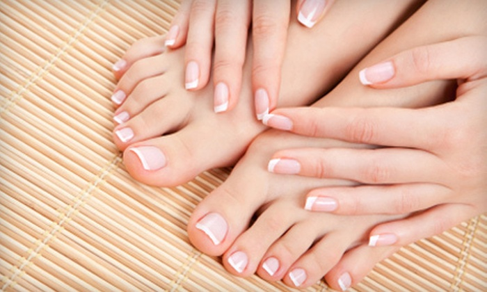The Nail Shop & The Lounge Nail Spa - Multiple Locations: Pedicure with Sea-Salt Foot Scrub or Deluxe Mani-Pedi at The Nail Shop and The Lounge Nail Spa (Up to 56% Off)