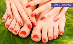 Bella V Nails: Mint or Lavender Mani-Pedi or Shellac Manicure with Paraffin at Bella V Nails (Up to 49% Off)