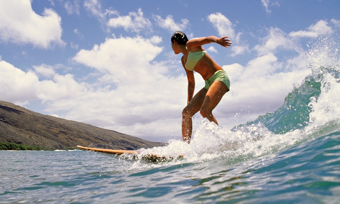 Adventure Out - Multiple Locations: Three-Hour Beginners' Surfing Lesson for One with Gear from Adventure Out (Up to 44% Off)