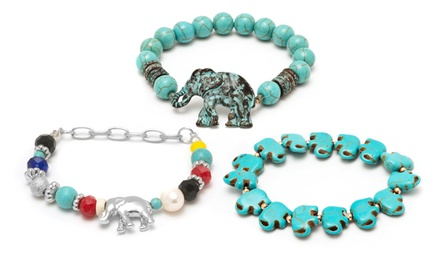 Genuine Turquoise Elephant Stretch Bracelets. Multiple Styles Available.