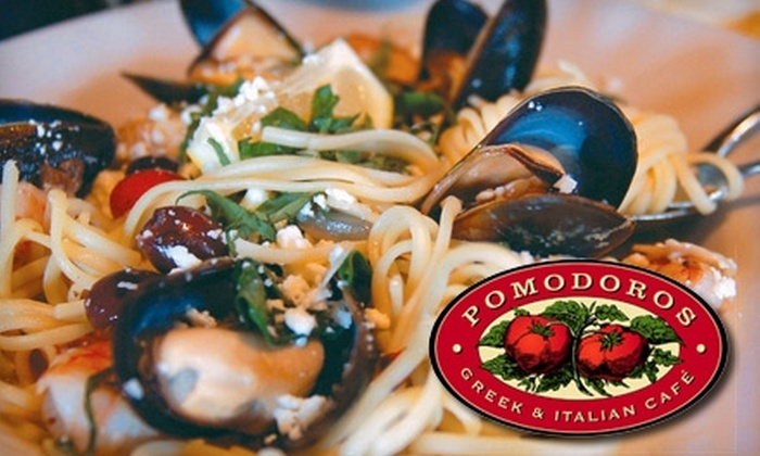 Pomodoros Greek & Italian Café - Multiple Locations: $15 for $35 Worth of Dinner Fare, or $7 for $15 Worth of Lunch Fare, at Pomodoros Greek & Italian Café