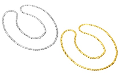 18K Gold Plated and Stainless Steel Flat Byzantine Chain Necklaces