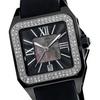 Akribos XXIV Women's Square Ceramic Case and Rubber Strap Quartz Watch