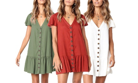 $19 for One or $29 for Two Button Pleated Mini Dresses