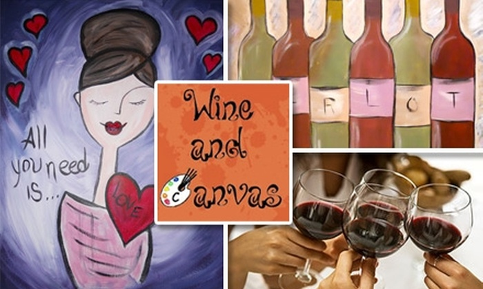 Wine and Canvas - Multiple Locations: $17 for an Art Class from Wine and Canvas ($35 Value)
