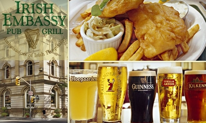 Irish Embassy Pub & Grill - Downtown Toronto: $15 for $30 Worth of Homemade Pub Fare and Drinks at Irish Embassy Pub & Grill