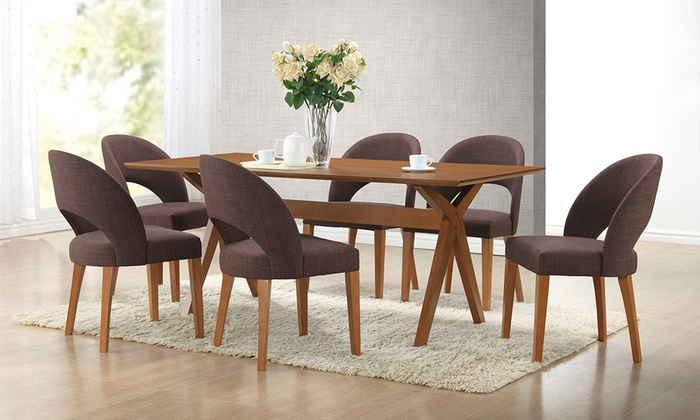 Lucas Mid Century Modern Dark Walnut Wood Dining Table With 6 Chairs: Lucas