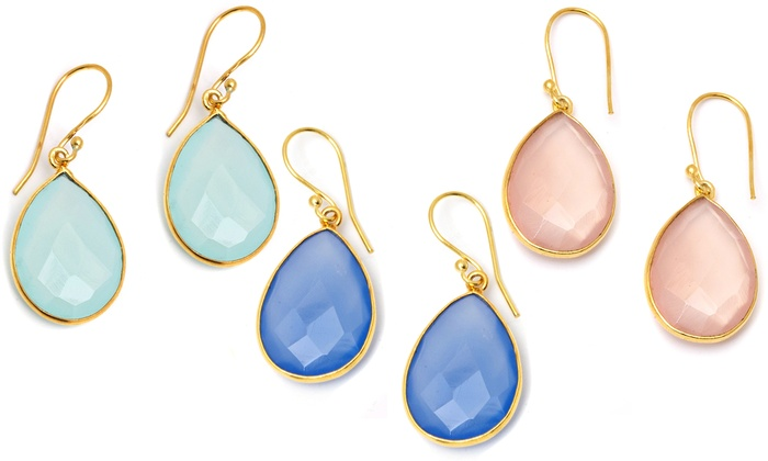 Teardrop Semiprecious-Gemstone Earrings: Gold-Plated Teardrop Semiprecious-Gemstone Earrings. Multiple Styles Available. Free Returns.