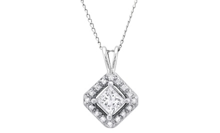 1/2-Carat TW Diamond Halo Pendant Necklace in 14-Karat White Gold