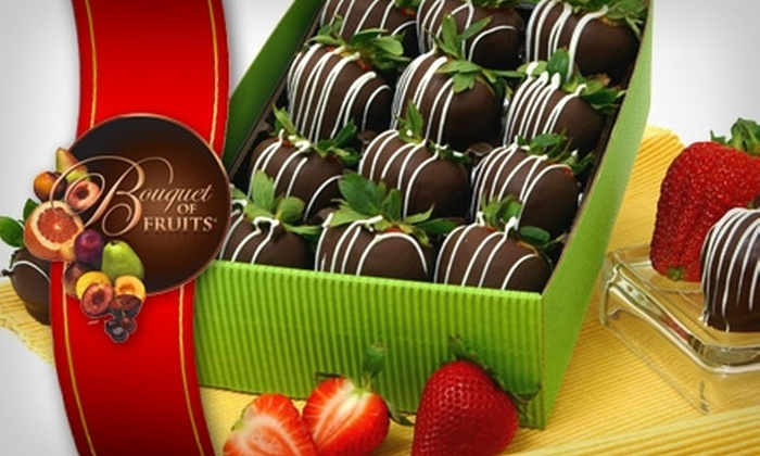 Bouquet of Fruits - Van Ness Extension: $19 for One Dozen Dark-Chocolate-Covered Strawberries at Bouquet of Fruits ($39.55 Value)