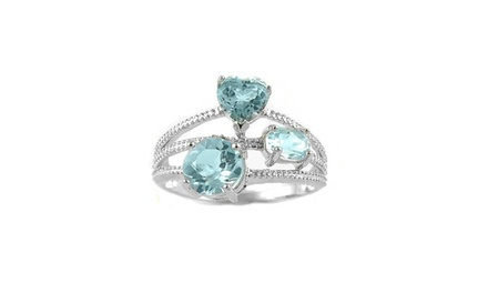 2.50 CTTW Genuine Aquamarine Ring with Diamond Accents in Sterling Silver