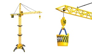 Big Kid's Construction Motorized Tethered Remote Controlled RC Crane