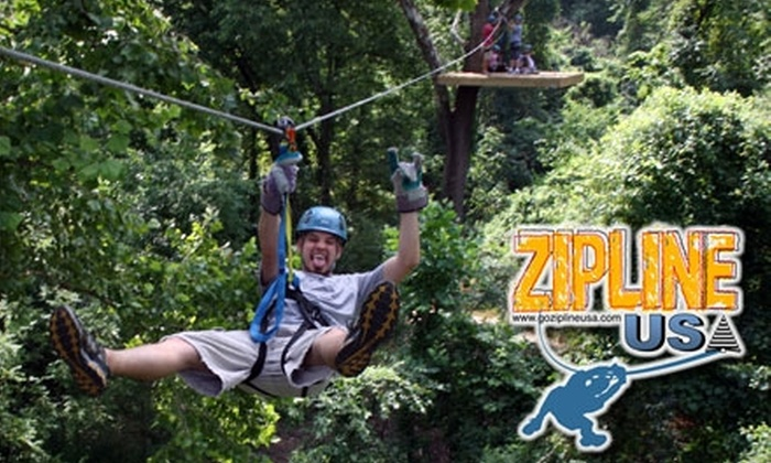 Zip Line USA - Ruth A: $45 Zip-Line Adventure at Zip Line USA in Reeds Spring (Up to $95 Value). Choose from Two Options.