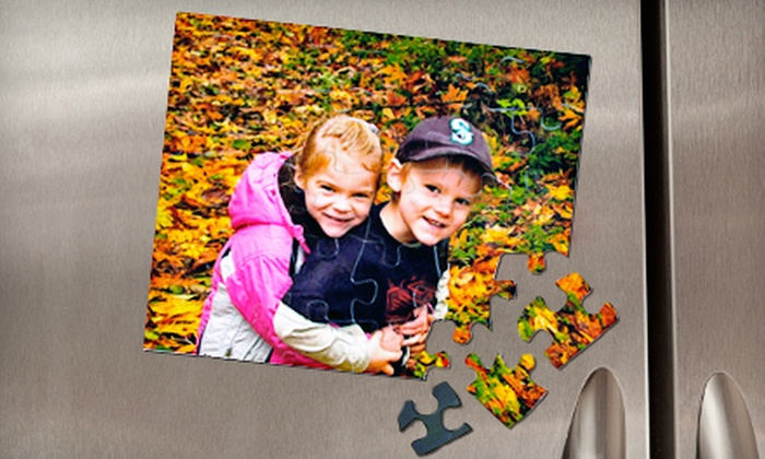 "Heads Up Puzzles: $19 for an 8""x10"" Custom Magnetic Puzzle with 30 or 70 Pieces from Heads Up Puzzles ($38 Value)"