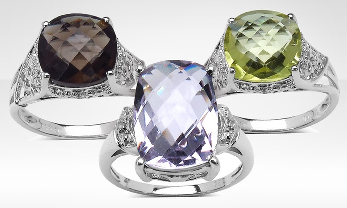 Genuine Gemstone Cocktail Rings with White Topaz: Genuine Gemstone Cocktail Rings with White Topaz. Multiple Gemstones Available. Free Shipping and Free Returns.