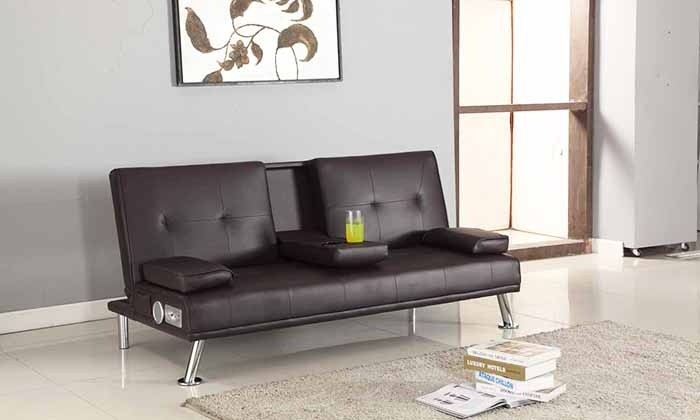 Sofa bed with bluetooth speakers groupon goods for Sofa bed groupon