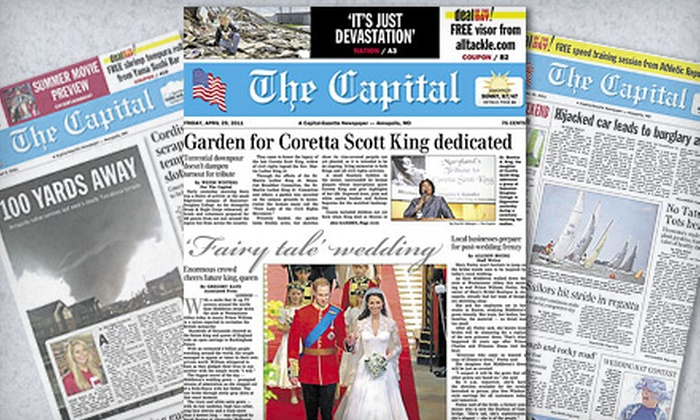 """The Capital"" - Annapolis: 26-Week Subscription for Sundays and Wednesdays or the Full Week to ""The Capital"" Newspaper (Up to 86% Off)"
