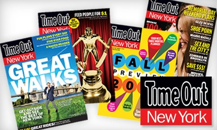 """""""Time Out New York"""" Magazine - Midtown Center: $12 for a One-Year Subscription (47 Issues) to """"Time Out New York"""" Magazine ($19.97 Value)"""
