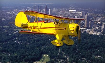 Biplane Ride for 1 Passenger Over Downtown Atlanta or Stone Mountain (a $175 value) - Biplane Rides Over Atlanta Inc in