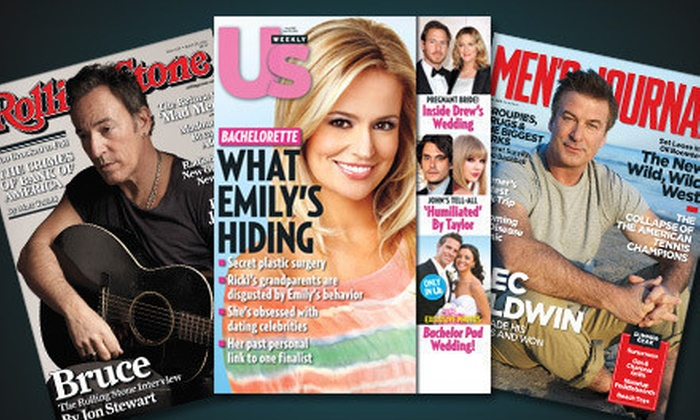 """One-Year Magazine Subscriptions: One-Year Subscription to """"Men's Journal,"""" """"Rolling Stone,"""" or """"Us Weekly"""" (Up to 58% Off)"""