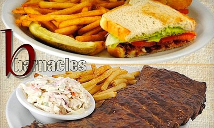 Barnacles - Multiple Locations: $15 for $30 Worth of All-American Fare & Drinks at Barnacles