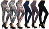 6-Pack Floral and Solid Leggings With Shaping Control: 6-Pack Floral and Solid Leggings With Shaping Control