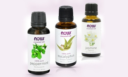 NOW Foods 3-Pack with Eucalyptus, Jasmine, and Peppermint Essential Oils; 1 Fl. Oz. Per Bottle