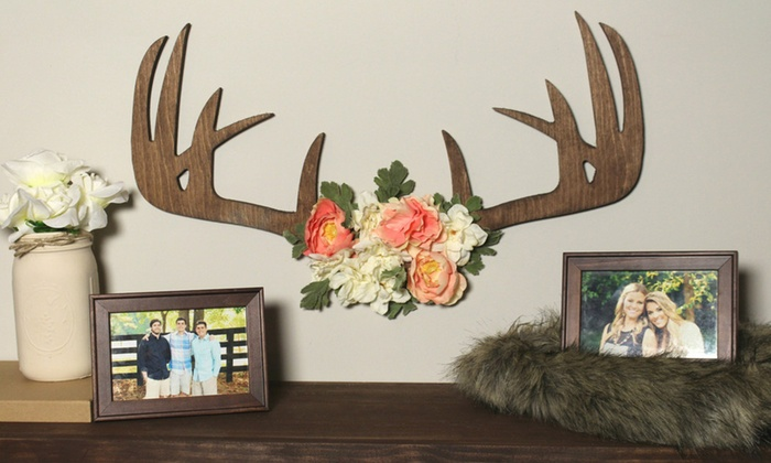 Whimsy Timber: Finished or Unfinished Wooden Floral Antler Racks from Whimsy Timber (Up to 50% Off)