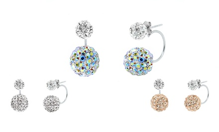 Sterling Silver Swarovski Elements Double Crystal Ball Earrings