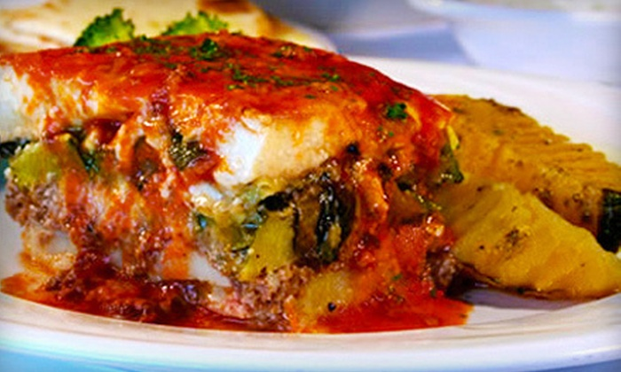 Opa! Greek Restaurant - Spring Valley: $26 for Authentic Greek Dinner Fare and House Wine for Two at Opa! Greek Restaurant (Up to $52 Value)