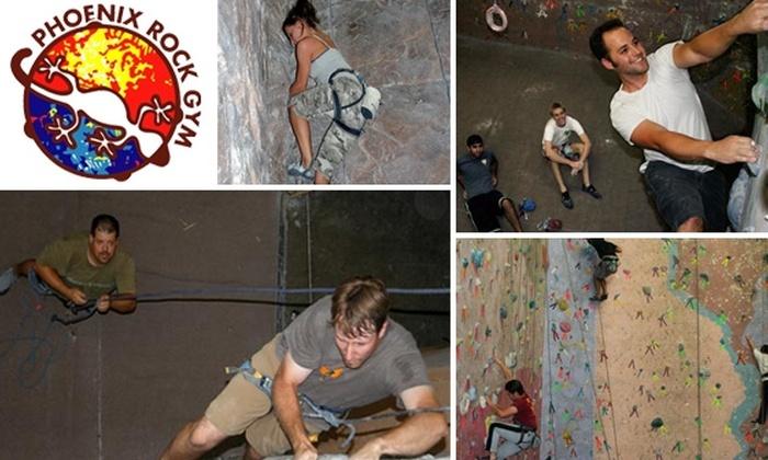 Phoenix Rock Gym - Tempe: Day-Long Rock-Climbing Pass with Equipment Rental at Phoenix Rock Gym