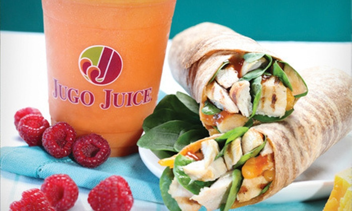 Jugo Juice - Central City: Flatbreads or Wraps and Smoothies for Two, or $5 for $10 Worth of Meal Items and Smoothies at Jugo Juice