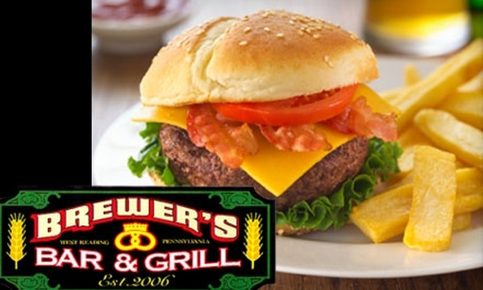 Brewer's Bar & Grill - West Reading: $10 for $20 Worth of Classic Pub Fare and Drinks at Brewer's Bar & Grill